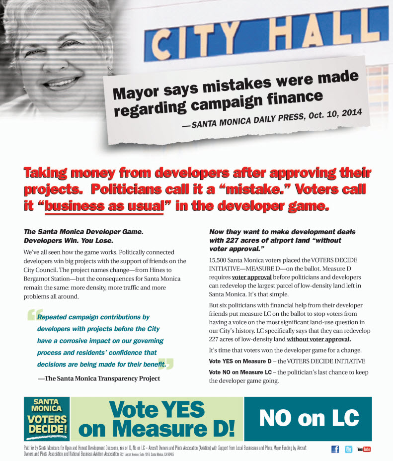 Santa Monica Mayor Pam campaign finance mistakes